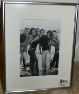 "Burnes Picture Frame 5x7"" photo 8.25x10.5"" Silver metal glass white mat New Box"