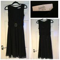 Wallis Petite Dress Black Sparkly With Belt Size 8 (A340)