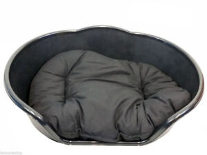 XL Luxury black pet bed with black cushion made in uk, excellent quality dog bed