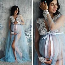 Long Gown For Maternity Photo Shoot Sexy Lace Pregnancy Dress Full Sleeve Lovely