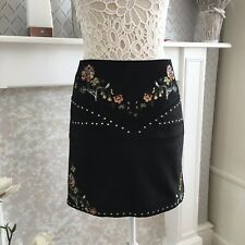 River Island Black Suede A Line Studded Embroidered Size 8