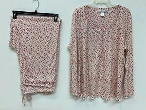 Carole Hochman Pajamas 2X Floral Knit 2 Piece Cotton Blend Ruffle NWT