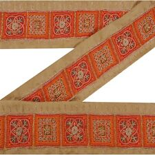 Sanskriti Vintage Decor Sari Border Hand Beaded Craft Sewing Cream Patch Lace