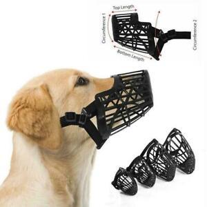 Basket Cage Dogs Muzzle w/Adjustable Straps Strongs Heavy Plastic Flexible K0D1