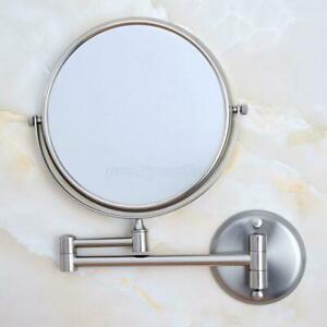 Wall Mounted Brushed Nickel Double Side Folding Bathroom Makeup Mirror