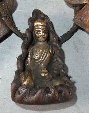 (9710) Tibet : Old Sherpa Himalaya amulet:  brass Buddha and two herbs pendants