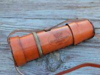 Antique BRASS KELVIN & HUGHES SPYGLASS TELESCOPE WITH LEATHER CARRY CASE
