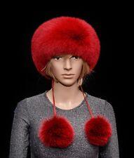 Saga Furs Volcano Red Fox Fur Handmade Skiing Headband Detachable POM POM