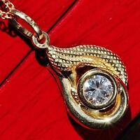 18k 750 yellow gold pendant 0.50ct white sapphire swirl charm  handmade 1.4g