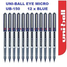 12 x UNIBALL UB-150  EYE MICRO ROLLER BALL PEN 0.5MM Blue -Cheapest on Ebay