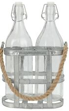 Set of 2 Clip Top Glass Vintage Bottles in Rack with Vintage Look Rope 1 Litre