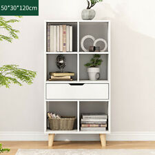 6 Cube White Bookshelf Kid Bookcase Divide Display Corner Book Shelf Unit Drawer
