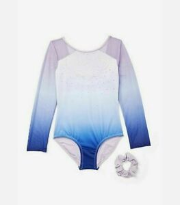 Justice Girl Size 12 Ombre Sparkle Gymnastics Dance Leotard & Hair Scrunchie NEW
