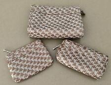 Ladies SERRA Taupe & Bronze Herringbone Make Up Bags / Pouch Set - 3 pieces!