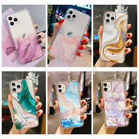 For iPhone 12 Pro Max 11 XS XR 8 7+ Shockproof Hybrid Bumper Marble Case Cover