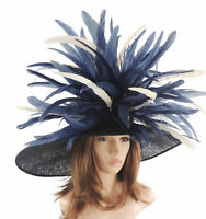 Navy & Cream Large Ascot Hat for Weddings, Ascot, Derby HC1