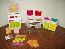 Barbie Size Dollhouse Furniture Computer Room Office Equipment Printer Chair