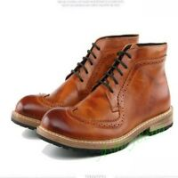 Ankle Boots Rivet Man Lace Up High Top Brogue Mens Punk Casual Leather Shoes New