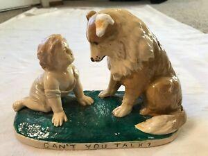 "Vintage G. Ferrad Dog Porcelain Sculpture w/ Stand Titled ""Can't You Talk"""