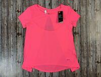 Women's Under Armour Whisperlight Short Sleeve Foldover Hot Pink Shirt Size XS