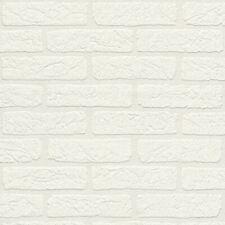 Brick Wall Auswahl 09 Textured Rasch Wallpaper Subtle Sheen White 309652