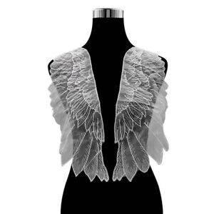 1 Pair Lace Wing Mesh Embroidery Sew on Patches Garment Dress Applique Badge DIY