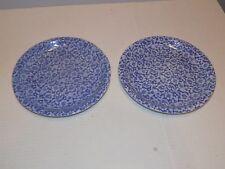 """(Set of 2) WBACH Stoneware Blue Floral Lace Salad Plates 7.75"""""""