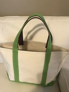 LL BEAN WHITE LIME GREEN Heavy CANVAS BOAT AND TOTE BAG Medium