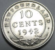 Newfoundland 1942 10 Cents Silver AU~Excellent~Free Shipping