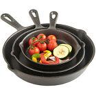 VonShef 3 Piece Skillet Pan Set - Black Pre-Seasoned Oven Safe Cast Iron Frying