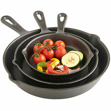 VonShef 3 Piece Skillet Pan Set Black Pre-Seasoned Cast Iron Frying Fry