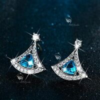 18k white gold gf made with SWAROVSKI crystal stud earrings blue fan 925 silver