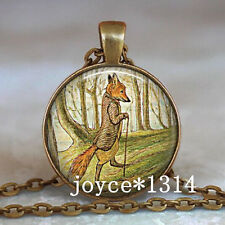 Vintage Mister Fox Cabochon Bronze Glass Chain Pendant Necklace #526