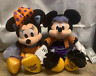 """Disney Store US Mickey Mouse 14"""" and Minnie Mouse 15"""" Halloween Plushes 2019 NWT"""