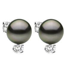 Stud Earrings 14K W Gold .06ctw Diamond & 8-9mm Black South Sea Tahitian Pearl