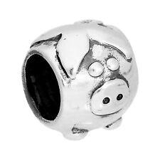 925 real plata encanto grano redondo cerdo animales granja granos encantos
