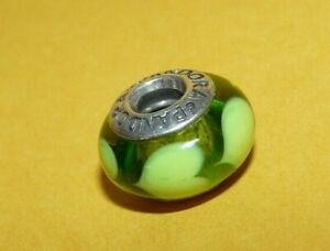 "~AUTHENTIC~""PANDORA""~""925""~STERLING~SILVER~GREEN~MURANO~ART~GLASS~CHARM~RETIRED~"