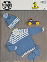 "Sirdar Knitting Pattern 3294 Fair Isle Sweater Hat 20-23"" DK Boys Girls Vintage"