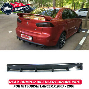 Rear Bumper Diffuser For Mitsubishi Lancer X 07-16 Pad Lip Body Kit For One Pipe