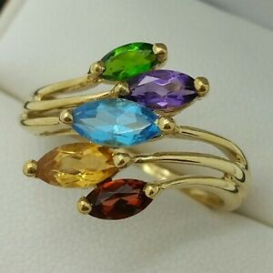 9ct Yellow Gold Multi Colour Stone Ring, Finger Size R