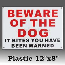 Beware Of The Dog It Bites You Have Been Warned Warning Plastic Sticker Sign US