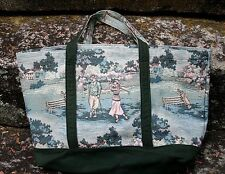 HOLDINGS FINE ACCESSORIES TAPESTRY TOTE TRAVEL BAG GOLF DESIGN U.S.A.