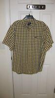 Men's Ralph Lauren Chaps Plaid Short Sleeve Button Down Shirt Size XL  Yellow