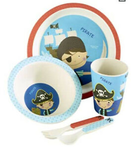 BN Arthur Price Kids Bamboo Dining And Cutlery Set Pirate Plate Cup Cutlery Bowl