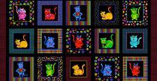 Loralie Cat Fabric - Cool Cats Feline Block Multicolor Kitty Loralie - PANEL