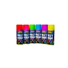 24 Can Silly Crazy String Spray Streamer Purple Blue Green Yellow Pink Red 200ml