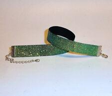 Glitzer-Halsband / Choker -moos-grün ,,. Kropfband, schmal