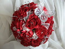 STUNNING RED ROSE  & IVORY HANDTIED WEDDING BOUQUET  WITH SILVER BUTTERFLY