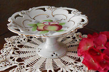 LOVELY HAND PAINTED VINTAGE RETICULATED  PEDISTAL CAKE TORTE DESSERT DISH STAND