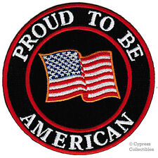 PROUD TO BE AMERICAN embroidered iron-on PATCH USA FLAG applique NEW US